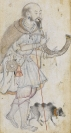 A qalandar of the Qalandari sect with his pet sheep, Mukund, India, 1585