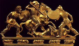 Scythians are history's original dope-fiends and the creators of cavalry warfare. The helmet is Greek, incidentally.